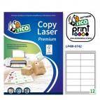 Etichetta adesiva Copy Laser LP4W - permanente - 97x42,3 mm - 12 etichette per foglio - bianco - Tico - conf. 100 fogli A4