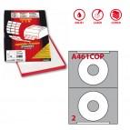 Etichetta adesiva per CD A461 - permanente - diametro CD 114,5 mm - foro 41 mm - 2 etichette per foglio - bianco coprente - Markin - scatola 100 fogli A4