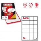 Etichetta adesiva A408 - permanente - 47,5x46,5 mm - 24 etichette per foglio - bianco - Markin - scatola 100 fogli A4