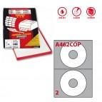 Etichetta adesiva per CD A462 - permanente - diametro CD 117,5 mm - foro 41 mm - 2 etichette per foglio - bianco coprente - Markin - scatola 100 fogli A4