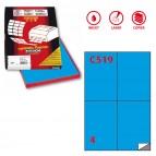 Etichetta adesiva C519 - permanente - 105x148 mm - 4 etichette per foglio - blu - Markin - scatola 100 fogli A4
