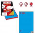 Etichetta adesiva C503 - permanente - 210x297 mm - 1 etichetta per foglio - blu - Markin - scatola 100 fogli A4