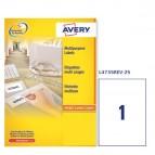 Etichetta adesiva L4735REV - rimovibile - 210x297 mm - 1 etichetta per foglio - bianco - Avery - conf. 25 fogli A4