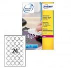 Etichetta antimanomissione L6112 - poliestere - adatta a stampanti laser - permanente - ø 40 mm - 24 etichette per foglio - bianco - Avery - conf. 20 fogli A4