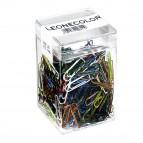 Fermagli colorati metallizzati N.2 - lunghezza 26 mm - colori assortiti - Molho Leone - barattolo da 500 fermagli