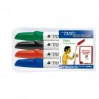 Pennarello a secco Tratto Memo per lavagne cancellabili  - punta a scalpello - tratto 6,5mm - astuccio 4 colori - Tratto