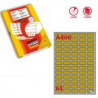 Etichetta adesiva A400 Markin - oro - adatta a stampanti laser - 38.1x21.2 mm - 65 etichette per foglio - scatola da 100 fogli A4