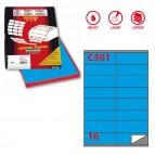 Etichetta adesiva C501 - permanente - 105x36 mm - 16 etichette per foglio - blu - Markin - scatola 100 fogli A4