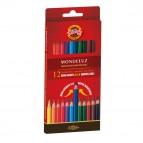 Studio Acquarello - Ø mina 3,8mm - colori assortiti - Koh-I-Noor - Astuccio 12 pastelli colorati