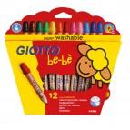 Supermatitoni pastelli colorati - con temperino - Ø mina 7,00mm - colori assortiti - Giotto BeBe - Astuccio 12 colori