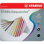Matite colorate aquacolor® Stabilo - Scatola in metallo - 2,8 mm - da 6 anni - 1624-5 (conf.24)
