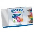 Supermina pastelli colorati - lunghezza 18cm Ø 7,6mm e mina Ø3,8mm - Giotto - Astuccio in metallo 12  pastelli colorati