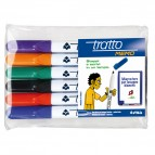 Pennarello a secco Tratto Memo per lavagne cancellabili  - punta conica - tratto 2,5mm - astuccio 6 colori - Tratto