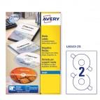 Etichetta adesiva L6043 per CD/DVD - permanente - diametro CD 117 mm - foro 41 mm - 2 etichette per foglio - bianco - Avery - conf. 25 fogli A4