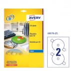 Etichetta adesiva J8676  per CD/DVD - permanente - adatta a stampanti inkjet - ø 117 mm - 2 etichette per foglio - bianco opaco - Avery - conf. 25 fogli A4