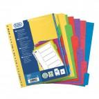 Divisori neutri in cartoncino rigido colorato Elba - 12 tasti - assortiti - 100204952