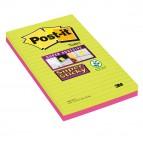 Blocco foglietti Post It Super Sticky rettangolari - a righe - colori Ultra - 127 x 203mm - 45 fogli - Post It