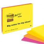 Blocco foglietti Post It Super Sticky Meeting Notes - giallo e rosa neon - 203 x 152mm - 45 fogli - Post It
