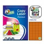 Etichetta adesiva LP4F - permanente - 47,5x25,5 mm - 44 etichette per foglio - arancio fluo - Tico - conf. 70 fogli A4