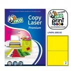 Etichetta adesiva LP4F - permanente - 200x142 mm - 2 etichette per foglio - giallo fluo - Tico - conf. 70 fogli A4