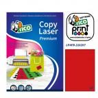 Etichetta adesiva LP4F - permanente - 210x297 mm - 1 etichetta per foglio - rosso fluo - Tico - conf. 70 fogli A4