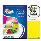 Etichetta adesiva LP4F - permanente - 210x297 mm - 1 etichetta per foglio - giallo fluo - Tico - conf. 70 fogli A4