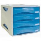 Cassettiera Smile - 29x38x25,5 cm - 4 cassetti da 5 cm - grigio/azzurro trasparente - Arda