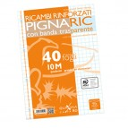 Ricambi forati rinforzati Pignaric - A4 - quadretto 10mm - 40 fogli - 80gr - Pigna