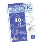 Ricambi forati rinforzati Pignaric - A4 - rigo di 3a - 40 fogli - 80gr - Pigna
