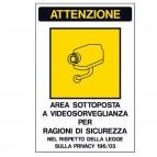 Cartello adesivo - AREA SOTTOPOSTA A VIDEOSORVEGLIANZA… - 20x30 cm - Markin
