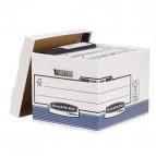 Scatola archivio Bankers Box System - con coperchio - 33,3x28,5x38 cm - bianco - Fellowes