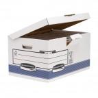 Scatola archivio Bankers Box System - con coperchio a ribalta - 37,8x29,3x54,5 cm - bianco - Fellowes
