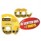 Nastro biadesivo Scotch® 665 - in chiocciola - 6,3 mt x 12 mm - trasparente - Scotch® - Promo Pack 10+2 pezzi