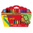 Pastelli cera super - lunghezza 7,5mm con Ø 11mm - colori assortiti - Giotto bebe - astuccio 10 superpastelloni