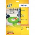 Etichette Classiche CD Avery per stampanti Laser ed Inkjet - bianco - 2 et/ff - L6043-25 (conf.25)