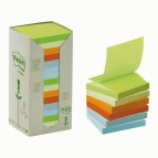 Blocco Post It Z Notes Green - assortiti pastello - 76 x 76mm - 100 fogli - riciclabile 100% - Post It