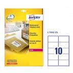 Etichetta adesiva L7992 - poliestere - impermeabile - adatta a stampanti laser - 99.1x57 mm - 10 etichette per foglio - bianco - Avery - conf. 25 fogli A4