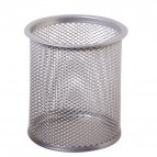 Bicchieri portapenne - rete metallica - 8,5x10 cm - argento - Lebez