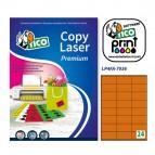Etichetta adesiva LP4F - permanente - 70x36 mm - 24 etichette per foglio - arancio fluo - Tico - conf. 70 fogli A4