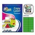 Etichetta adesiva LP4F - permanente - 99,1x34 mm - angoli tondi - 16 etichette per foglio - verde fluo - Tico - conf. 70 fogli A4