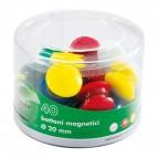 Bottoni magnetici tondi - diametro 40 mm - colori assortiti - Lebez - barattolo da 10 pezzi