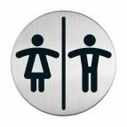 Pittogramma adesivo - WC donne/uomini - acciaio - diametro 8,3 cm - Durable