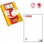 Etichetta adesiva C503 - poliestere - adatta a stampanti laser - 210x297 mm - 1 etichetta per foglio - trasparente lucido - Markin - scatola 50 fogli A4