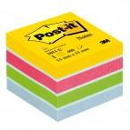 Blocco foglietti Minicubo - giallo neon, fucsia, verde ultra, azzurro, bianco - 51 x 51mm - 400 fogli - Post It