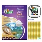 Etichetta adesiva GL4 - ovale - permanente - 22x16 mm - 120 etichette per foglio - satinata oro - Tico - conf. 100 fogli A4