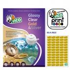 Etichetta adesiva GL4 - sagomata - permanente - 36x21 mm - 60 etichette per foglio - satinata oro - Tico - conf. 100 fogli A4