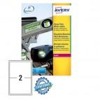 Etichetta in poliestere L7068 - adatta a stampanti laser - permanente - 199,6x143,5 mm - 2 etichette per foglio -  bianco - Avery - conf. 20 fogli A4