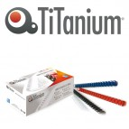 Dorsi spirale - 21 anelli - plastica - 22 mm - rosso - Titanium - scatola 50 pezzi