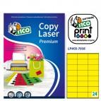 Etichetta adesiva LP4C - permanente - 70x36 mm - 24 etichette per foglio - giallo opaco - Tico - conf. 70 fogli A4
