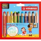 Pastelli colorati Woody 3in1 - mina 10mm - con temperino - Stabilo - Astuccio 10 pastelli